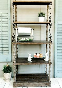 Decorative Metal and Wood Tired Bookshelf