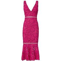 Nicholas Women's Pink Trumpet Hem Lace Dress ($695) ❤ liked on Polyvore featuring dresses, dark pink, v neck midi dress, pink lace cocktail dress, dark pink dress, fitted cocktail dresses and v neck dress