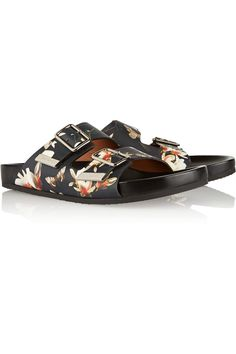 Givenchy | Leather sandals in magnolia print | NET-A-PORTER.COM