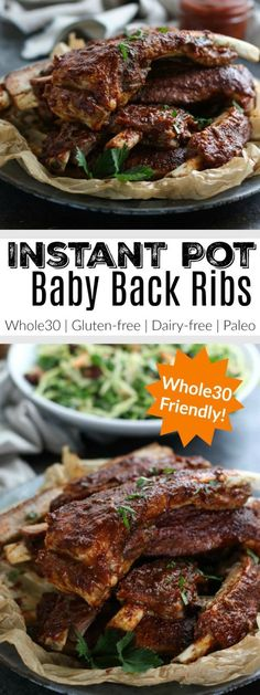 Craving BBQ ribs but don't have all day to tend the grill? No worries, these Instant Pot Baby Back Ribs are ready in under an hour! | The Real Food Dietitians | http://therealfoodrds.com/instant-pot-baby-back-ribs/