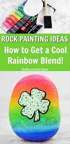 Learn how to blend paint pens with this amazing rainbow rock painting tutorial #rockpainting #rufflesandrainboots #rainbow via @momtoelise