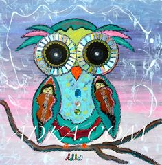 """""""SIGGY"""" Rainbow-eyed owls are a fun splash of color that will enliven any playroom, music room, waiting room, school or office! The unusual reflections in the owl's eyes are naturally created by surrounding light sources and will stimulate curiosity, creating a unique connection between this cute bejeweled creature and the viewer. Canvas Size: 20""""x20""""x1.5"""" PRICES: Original Painting - $550 Limited Edition Canvas Print 16""""x16"""" - (S/n #50) -  ORDER INFO: Contact: Adka@triad.rr.com  #owl…"""