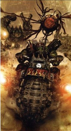 """Evil Sunz Speed Freak on his War Bike. The Evil Sunz are irresistibly attracted towards fast vehicles and loud noises. The Orks of this klan wear red clothes and often paint their machines red too, firmly believing in the old Ork adage that """"red 'uns go fasta."""""""