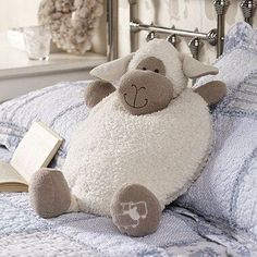 Our soft, plump sheep case takes care of your PJs in a friendly and cozy way if you . - Our soft, plump sheep case takes care of your PJs in a friendly and cozy way, if you …, - Sewing Toys, Sewing Crafts, Sewing Projects, Hobbies And Crafts, Diy And Crafts, Crafts For Kids, Kids Pillows, Animal Pillows, Sheep Crafts