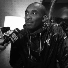 May 5, Kobe talking with the media prior to Saturday's practice.
