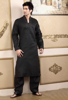 MCD540 : Black Linen Embroidered Pathani Suit