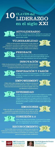 10 claves de liderazgo en el siglo XXI vía @IMF Business School @Janetdeltronco #infografia #infographic Personal Branding, Personal Development, Social Media Tips, Leadership, Non Profit, Relationship Quotes, Entrepreneur, Management, Organization
