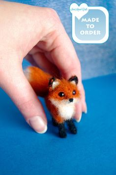 OOAK Needle Felted red fox / tiny Miniature / by SaniAmaniCrafts