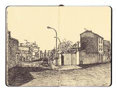 """""""Vous dessinez ma maison?"""" """"Non, elle est au bord de la feuille"""" """"Bon, ça va alors""""  Mehdi Zannad, Montreuil in Situ"""