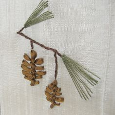 Pinecone silk ribbon embroidery