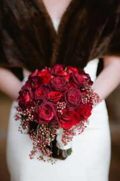 red bouquet - red roses and red holly berries - bridesmaids could carry white flowers with red holly
