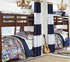 Navy/White Rugby Curtains w/ Madras Plaid. Also like the rug.
