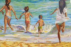 Hitzewelle und Meer die beste Kombination! #Meer #Sommer #Strand #Schwimmen #ölbilder #Kunst Strand, Painting, Art, Painted Canvas, Swim, Waves, Summer Recipes, Kunst, Art Background