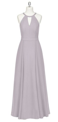 A-Line Halter Floor-Length Keyhole Grey Sleeveless Chiffon Bridesmaid Dress.  Azazie Bridesmaid DressesBridesmaid ... 72f34670bff5