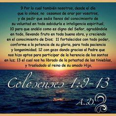 Colosenses 1:9-13 RVR1960   Por lo cual también nosotros, desde el día que lo oímos, no cesamos de orar por vosotros, y de pedir que seáis llenos del conocimiento de su voluntad en toda sabiduría e inteligencia espiritual, para que andéis como es digno del Señor, agradándole en todo, llevando fruto en toda buena obra, y creciendo en el conocimiento de Dios; fortalecidos con todo poder, conforme a la potencia de su gloria, para toda paciencia y longanimidad; con gozo dando gracias al Padre…