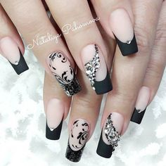 acrylic-nails-awesome-ideas-long-square-french-matte-black + 60 Trendy Acrylic Nails Designs You Must Try Nail Art trendy nails designs acrylic %Post Title Acrylic Nail Salon, Acrylic Nail Designs, Nail Art Designs, Nails Design, French Tip Nail Designs, French Tip Nails, French Manicures, Stylish Nails, Trendy Nails