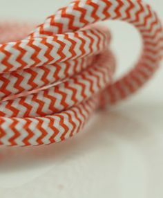 Orange and white Italian fabric cable