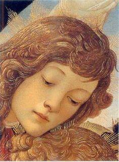 Sandro Botticelli - Madonna del Magnificat (Madonna con il Bambino e cinque angeli), dettaglio - tempera su tavola (diametro 118 cm) - 1481 - Galleria degli Uffizi di Firenze.