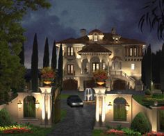Luxury House Blueprint Plans, Luxury Home Plans for French English Italian style Castles, Villas and Palaces in Traditional and Contemporary Home styles by Architect John Henry ~luxury, wealth and opulence Unique House Plans, Luxury House Plans, Dream House Plans, My Dream Home, Dream Homes, Italian Style Home, Huge Houses, Design Your Own Home, Mediterranean House Plans