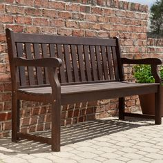 Coral Coast Amherst Curved Back 5 Ft. Outdoor Wood Garden Bench - Dark Brown
