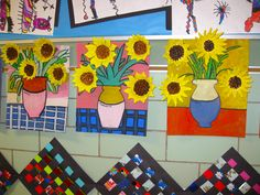 "Van Gogh, clay relief study, ""Sunflowers"", gr.5"