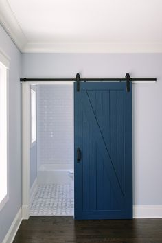 Blue Barn Door Paint Color Is Benjamin Moore Hudson Bay . Types Of Interior Doors For Home. Remodelaholic Decorating With Black: 13 Ways To Use Dark . Home and furniture ideas is here Barn Bathroom, Bathroom Doors, Bathroom Art, Diy Barn Door, Barn Door Hardware, Barn Door Pantry, Light Blue Walls, Interior Barn Doors, Luxury Interior Design