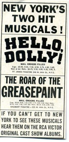 NYC Musicals AD Hello, Dolly!  Roar of the Greasepaint 60's Broadway