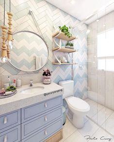 """Paola Cury Arquitetura e Eng. on Instagram: """"Banheiro delicado: pra esse banheiro de uma mini cliente muito linda, um pedido: tons de azul! Eu queria que o banheiro mesmo nesses tons…"""""""