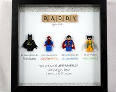 Personalisierte LEGO Stil Superhelden Rahmen - Batman, Spiderman, Superman, Wolverine