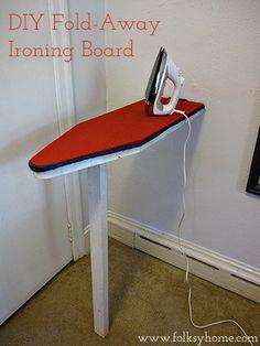 small laundry room - diy fold-away ironing board, Folksy Home