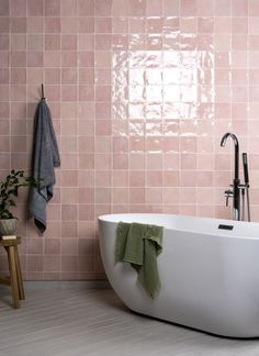 A bathroom renovation often sounds like the biggest challenge you can take on in your home, but it is also one of the most rewarding, making getting out of bed extra special in the morning and helping you wind down after a long day in the office or running after children. Here are our favourite bathrooms for 2021 - image by Walls and Floors White Wall Tiles, White Bathroom Tiles, Pink Tiles, Wall And Floor Tiles, Bathroom Colors, Kitchen Tiles, Boho Bathroom, Bathroom Trends, Master Bathroom
