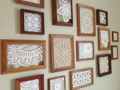 an inexpensive way to fill a big, blank wall - thrifted frames with doilies hot glued inside (bought a box for a dollar at an auction)  original pin: http://pinterest.com/pin/33425222204014542/