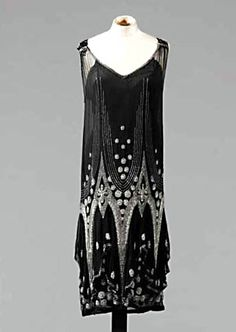 Beaded black evening dress, ca. 1926-28. Sotheby's