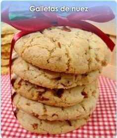 GALLETAS DE NUEZ Mexican Food Recipes, Sweet Recipes, Cookie Recipes, Biscuits, Brownie Cookies, Cake Cookies, Cupcakes, Beignets, Mexican Cookies