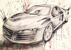 Garage Art - Custom Painting - Gift For Car Lover - Audi - R8- Watercolor From A Photo - Personalized Painting - Black and White