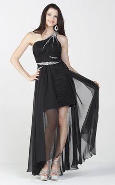 Black Dress Fitted One Shoulder