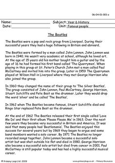 The Beatles - Comprehension Reading Passages, Reading Skills, Reading Comprehension, Beatles Songs, The Beatles, Back To School Art Activity, Worksheets, Student Data, Primary Resources