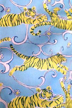Vintage Lilly Pulitzer print. Looks like Mizzou Tigers print to me!