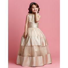 Ball Gown Jewel Floor-length Organza And Satin Flower Girl Dress (2174410) – USD $ 87.29