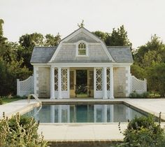 POOL HOUSE – Start collecting design ideas for the future pool house. This one can work. Dutch colonial revival gable