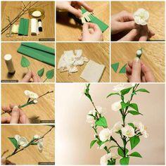 Fleurs de cerisier en papier crépon