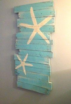 Beach and Starfish Reclaimed Wood 24 x 43