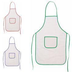 Delantales para personalizar económicos fabricados de algodón 100% de calidad, de color completo blanco, con un ribete de color a lo largo del perímetro del delantal.
