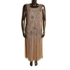07d803a7dd5 PISARRO NIGHTS NEW Beige Embellished Sleeveless Evening Dress Gown Plus 22  BHFO  PisarroNights  EveningDress