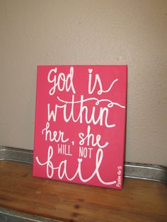 God Is Within Her Canvas Quote - Pink Canvas Art - Nursery Decor - Psalm 46 - Scripture Quote Painting - Dorm Decor - Inspirational Canvas by RestoreandSparkle on Etsy Pink Canvas Art, Nursery Canvas Art, Diy Canvas, Nursery Decor, Canvas Wall Art, Canvas Ideas, Painting Canvas, Canvas Quotes, Canvas Signs