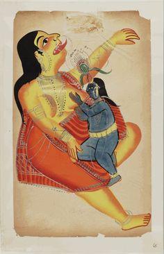 Kalighat paintings: Death of Putna (Putana). 1875. 44,5 x 28cm