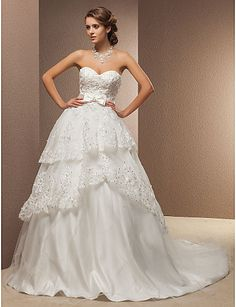 Ball Gown Sweetheart Chapel Train Tulle And Organza Wedding Dress