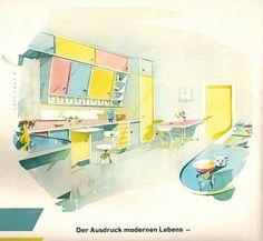 1960 Schöner Wohnen Heft 3 - Pastellküche I am mad for slant-front kitchen cabinetry.