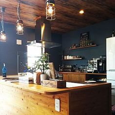 Home Decoration Cheap Ideas Key: 4195936070 Cafe Interior Design, Cafe Design, Room Interior, Interior Styling, House Design, Kitchen Gifts, Kitchen Decor, Kitchen Design, Cafe Style