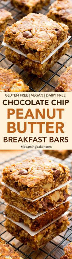 Peanut Butter Chocolate Chip Oatmeal Breakfast Bars (V+GF): a simple recipe for deliciously textured oatmeal breakfast bars bursting with peanut butter and chocolate. Use oat flour to keep this healthy recipe clean eating friendly! Pin now to make this healthy breakfast bar recipe later!